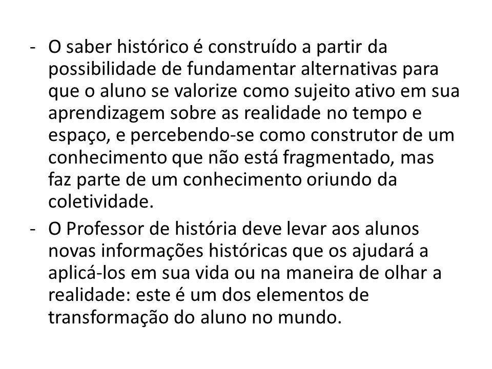 -O saber histórico é construído a partir da possibilidade de fundamentar alternativas para que o aluno se valorize como sujeito ativo em sua aprendiza