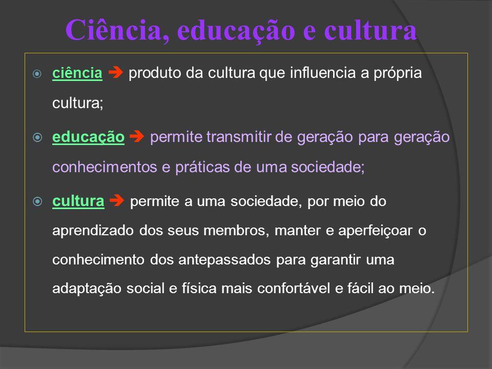  ciência  produto da cultura que influencia a própria cultura;  educação  permite transmitir de geração para geração conhecimentos e práticas de uma sociedade;  cultura  permite a uma sociedade, por meio do aprendizado dos seus membros, manter e aperfeiçoar o conhecimento dos antepassados para garantir uma adaptação social e física mais confortável e fácil ao meio.