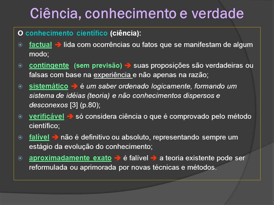 Métodos:  indução  do particular se infere o geral;  dedução  do geral se busca o particular;  método hipotético-dedutivo  hipótese preliminar  é comprovada ou não.