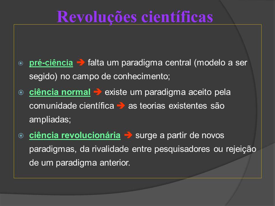  pré-ciência  falta um paradigma central (modelo a ser segido) no campo de conhecimento;  ciência normal  existe um paradigma aceito pela comunidade científica  as teorias existentes são ampliadas;  ciência revolucionária  surge a partir de novos paradigmas, da rivalidade entre pesquisadores ou rejeição de um paradigma anterior.