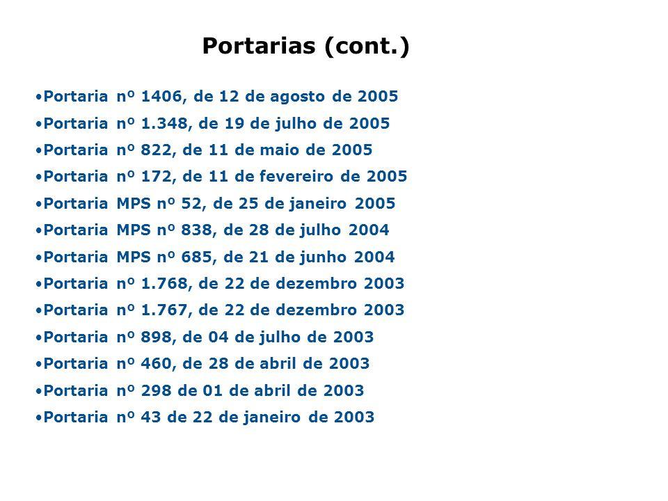 Portaria nº 1406, de 12 de agosto de 2005 Portaria nº 1.348, de 19 de julho de 2005 Portaria nº 822, de 11 de maio de 2005 Portaria nº 172, de 11 de f