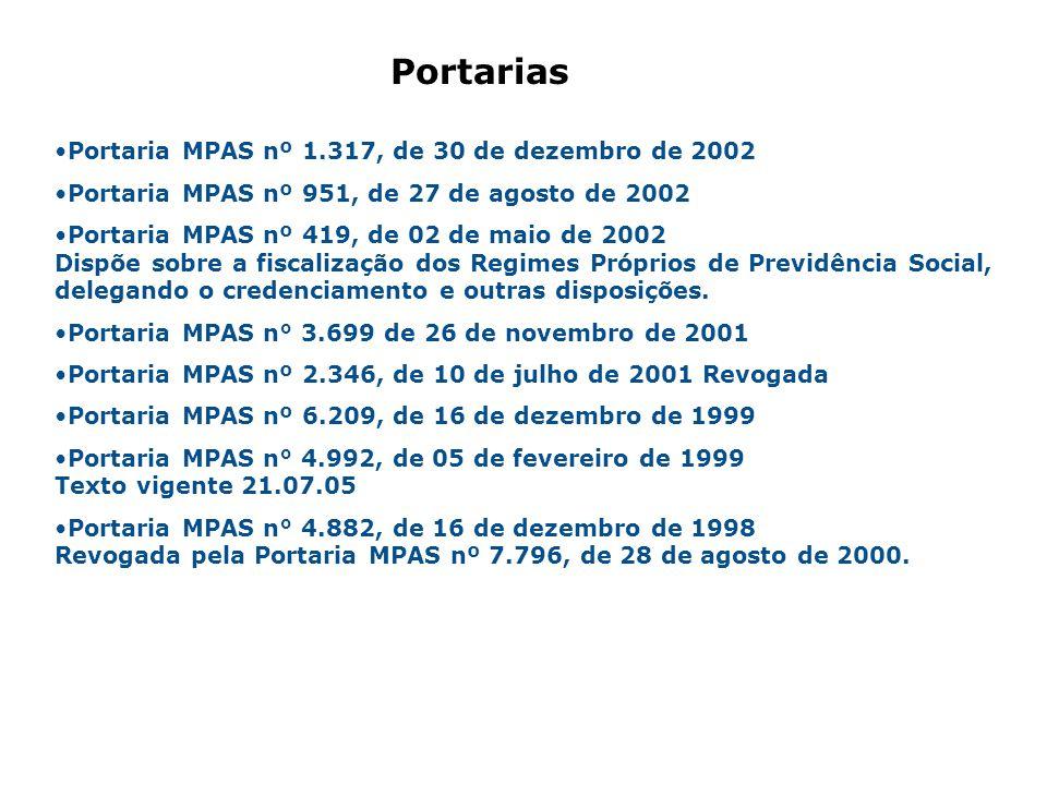 Portaria MPAS nº 1.317, de 30 de dezembro de 2002 Portaria MPAS nº 951, de 27 de agosto de 2002 Portaria MPAS nº 419, de 02 de maio de 2002 Dispõe sob