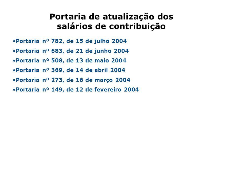 Portaria nº 782, de 15 de julho 2004 Portaria nº 683, de 21 de junho 2004 Portaria nº 508, de 13 de maio 2004 Portaria nº 369, de 14 de abril 2004 Por