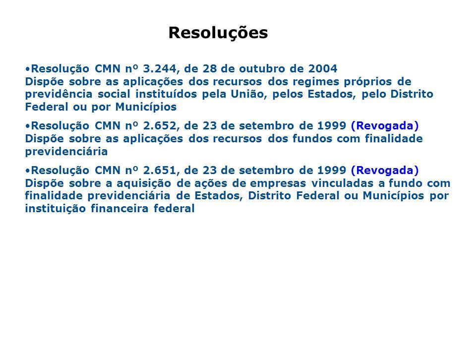 Resolução CMN nº 3.244, de 28 de outubro de 2004 Dispõe sobre as aplicações dos recursos dos regimes próprios de previdência social instituídos pela U