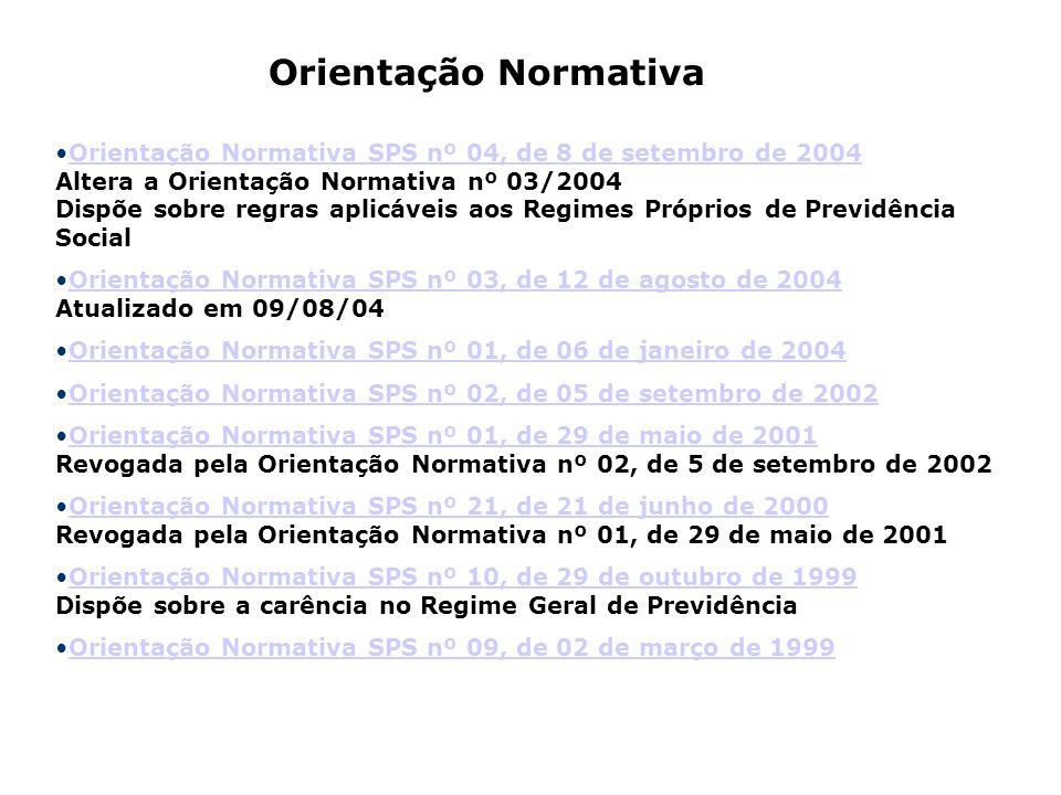 Orientação Normativa SPS nº 04, de 8 de setembro de 2004 Altera a Orientação Normativa nº 03/2004 Dispõe sobre regras aplicáveis aos Regimes Próprios