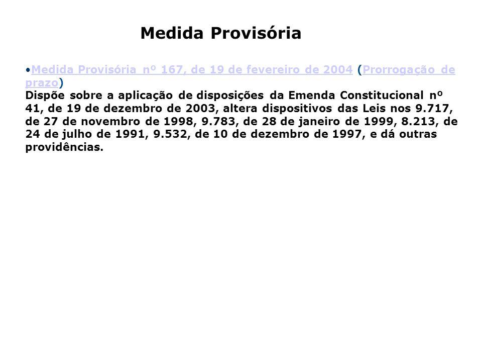Medida Provisória nº 167, de 19 de fevereiro de 2004 (Prorrogação de prazo) Dispõe sobre a aplicação de disposições da Emenda Constitucional nº 41, de