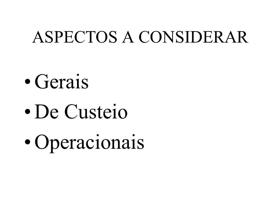 ASPECTOS A CONSIDERAR Gerais De Custeio Operacionais