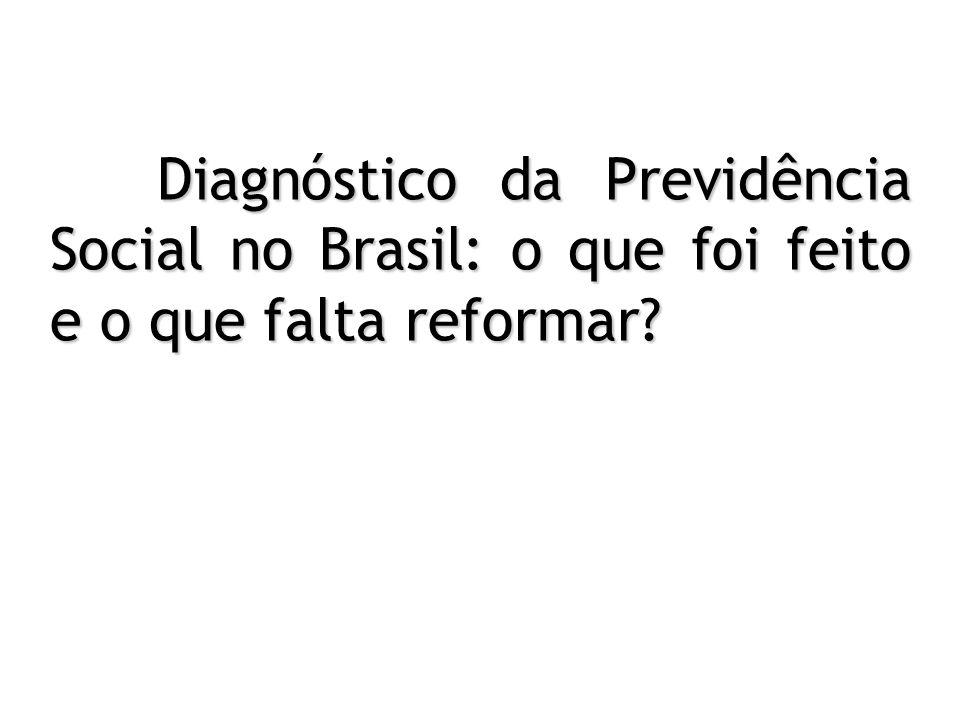 Diagnóstico da Previdência Social no Brasil: o que foi feito e o que falta reformar? Diagnóstico da Previdência Social no Brasil: o que foi feito e o