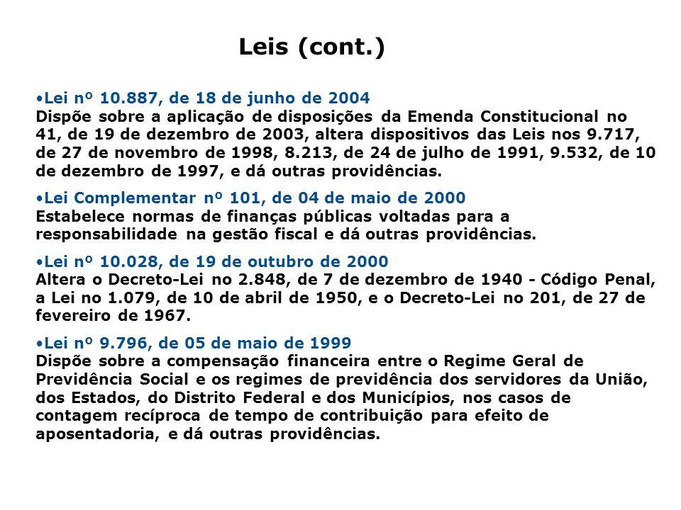 Lei nº 10.887, de 18 de junho de 2004 Dispõe sobre a aplicação de disposições da Emenda Constitucional no 41, de 19 de dezembro de 2003, altera dispos