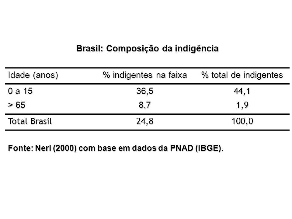 Brasil: Composi ç ão da indigência Idade (anos) % indigentes na faixa % total de indigentes 0 a 15 36,544,1 > 65 8,71,9 Total Brasil 24,8100,0 Fonte: