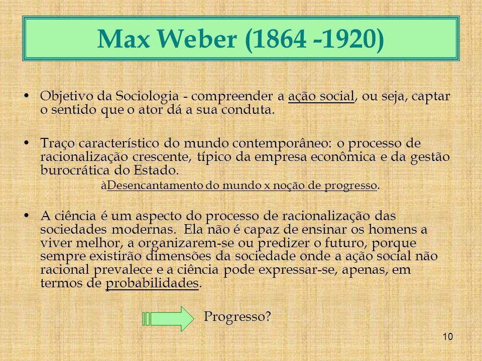 10 Max Weber (1864 -1920) Objetivo da Sociologia - compreender a ação social, ou seja, captar o sentido que o ator dá a sua conduta.