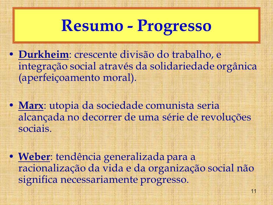 11 Resumo - Progresso Durkheim : crescente divisão do trabalho, e integração social através da solidariedade orgânica (aperfeiçoamento moral).