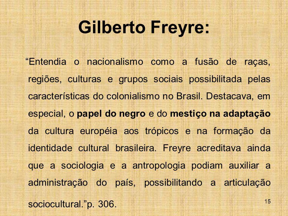 Gilberto Freyre: Entendia o nacionalismo como a fusão de raças, regiões, culturas e grupos sociais possibilitada pelas características do colonialismo no Brasil.