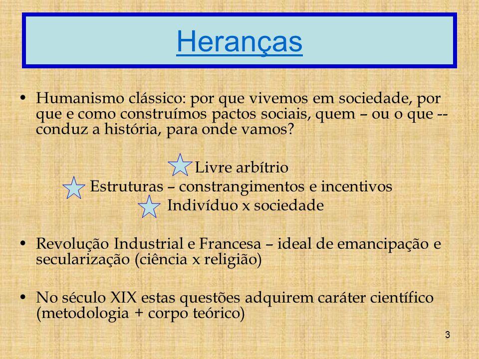 3 Heranças Humanismo clássico: por que vivemos em sociedade, por que e como construímos pactos sociais, quem – ou o que -- conduz a história, para onde vamos.