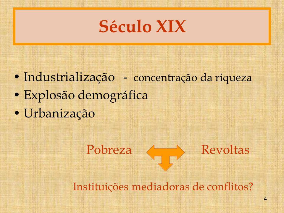 4 Século XIX Industrialização - concentração da riqueza Explosão demográfica Urbanização Pobreza Revoltas Instituições mediadoras de conflitos?