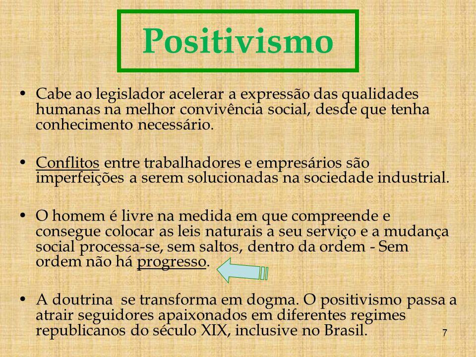 7 Positivismo Cabe ao legislador acelerar a expressão das qualidades humanas na melhor convivência social, desde que tenha conhecimento necessário.