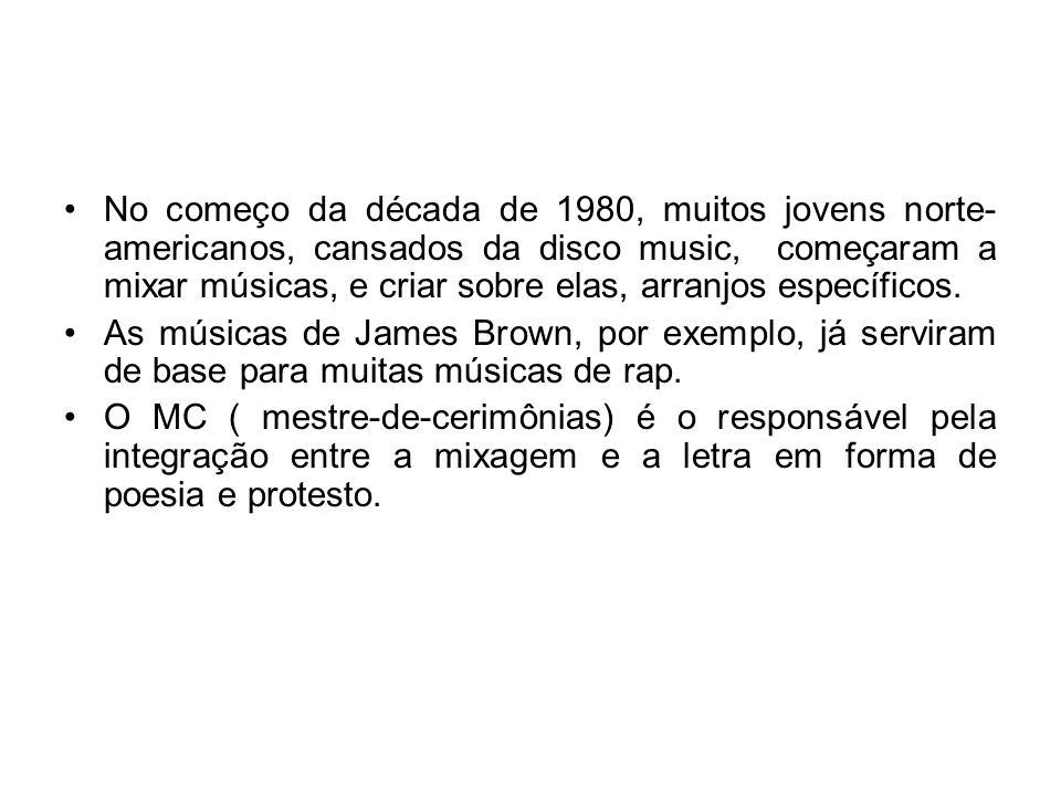 Entendendo o Rap Geralmente, o rap é cantado e tocado por uma dupla composta por um DJ ( disc-jóquei ), que fica responsável pelos efeitos sonoros e mixagens, e por MCs que se responsabilizam pela letra cantada.