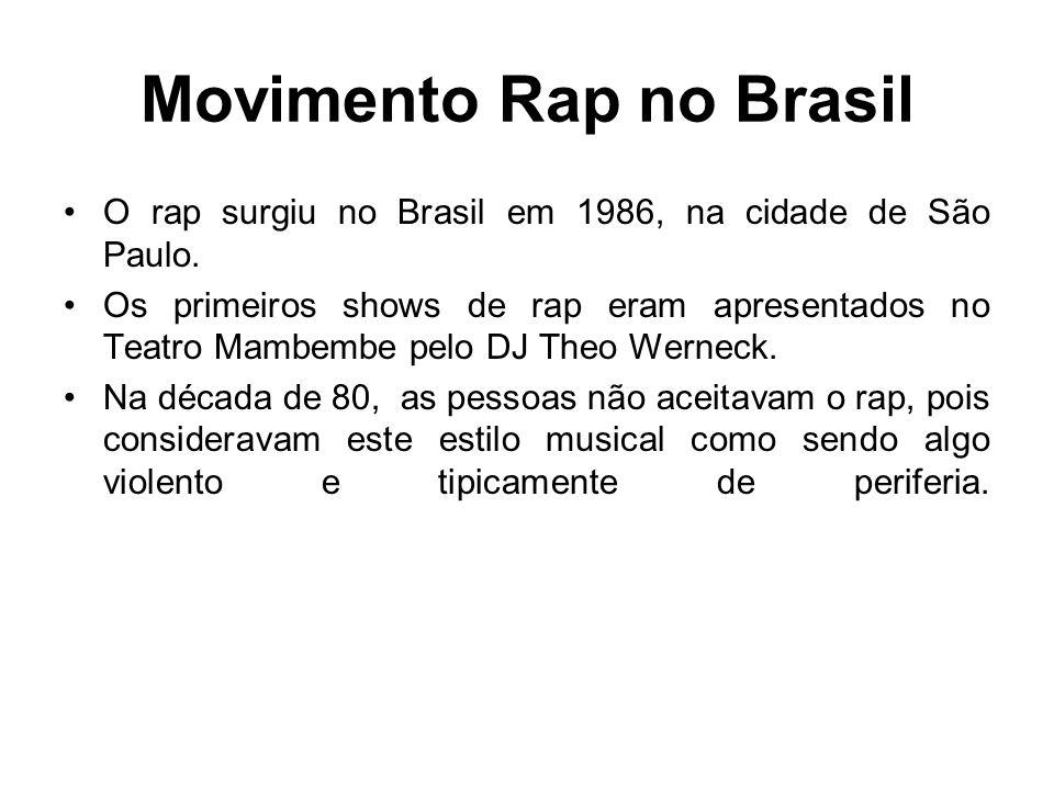 Movimento Rap no Brasil O rap surgiu no Brasil em 1986, na cidade de São Paulo. Os primeiros shows de rap eram apresentados no Teatro Mambembe pelo DJ