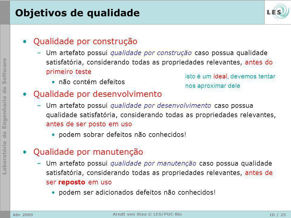 Abr 200910 / 25 Arndt von Staa © LES/PUC-Rio Objetivos de qualidade Qualidade por construção –Um artefato possui qualidade por construção caso possua