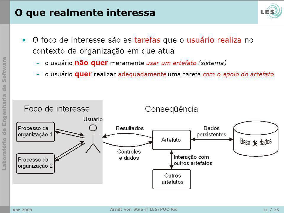 Abr 200911 / 25 Arndt von Staa © LES/PUC-Rio O que realmente interessa O foco de interesse são as tarefas que o usuário realiza no contexto da organiz