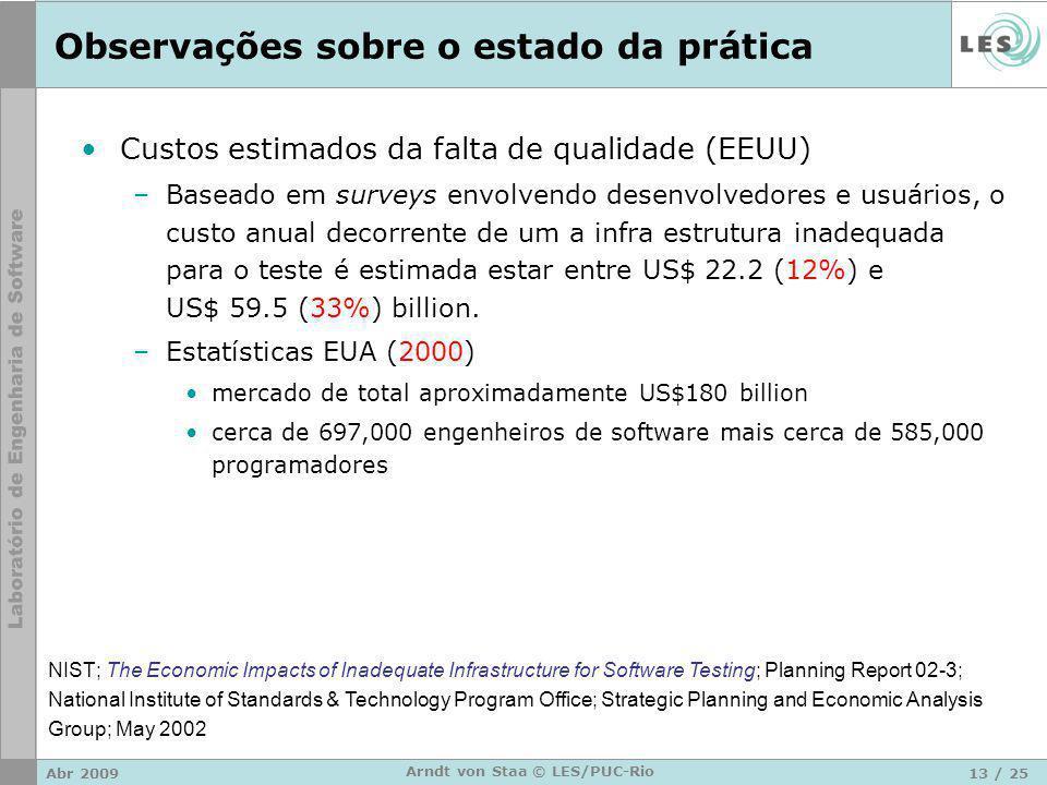 Abr 200913 / 25 Arndt von Staa © LES/PUC-Rio Observações sobre o estado da prática Custos estimados da falta de qualidade (EEUU) –Baseado em surveys envolvendo desenvolvedores e usuários, o custo anual decorrente de um a infra estrutura inadequada para o teste é estimada estar entre US$ 22.2 (12%) e US$ 59.5 (33%) billion.
