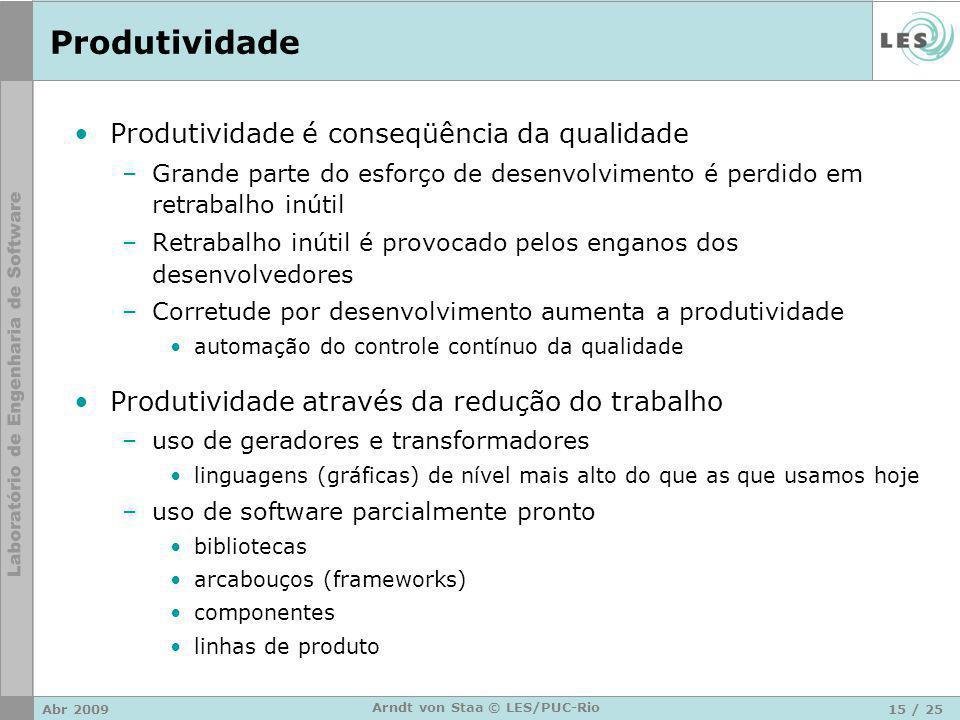 Abr 200915 / 25 Arndt von Staa © LES/PUC-Rio Produtividade Produtividade é conseqüência da qualidade –Grande parte do esforço de desenvolvimento é per