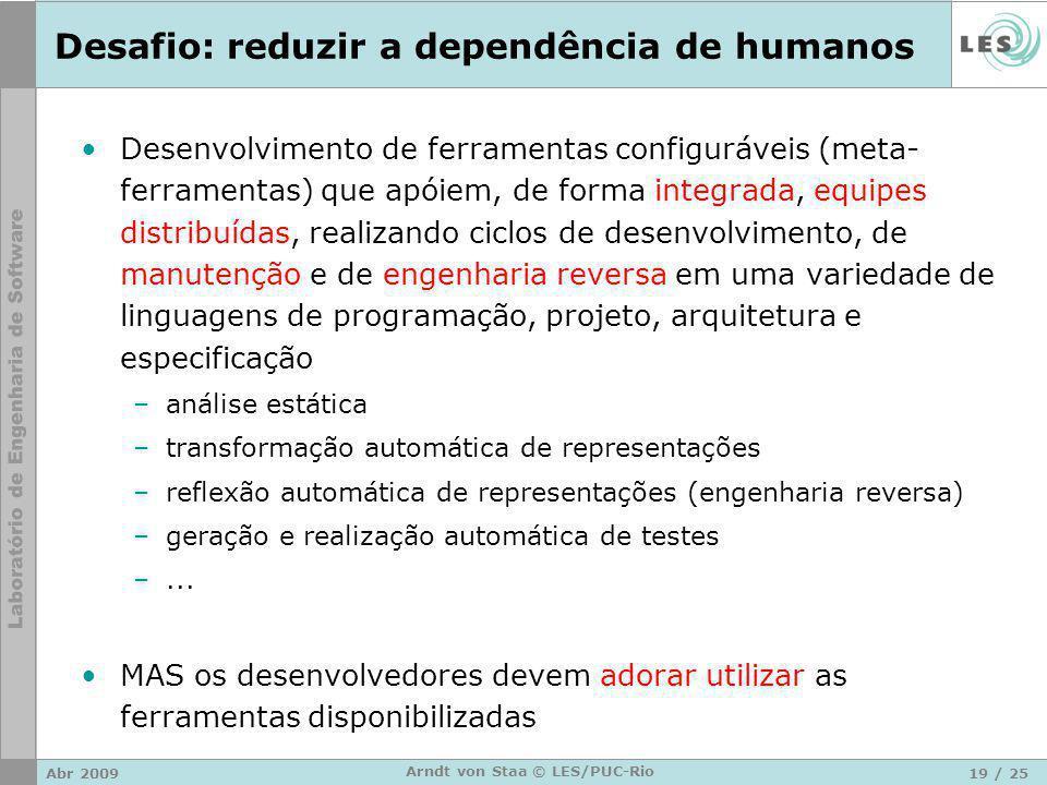 Abr 200919 / 25 Arndt von Staa © LES/PUC-Rio Desafio: reduzir a dependência de humanos Desenvolvimento de ferramentas configuráveis (meta- ferramentas) que apóiem, de forma integrada, equipes distribuídas, realizando ciclos de desenvolvimento, de manutenção e de engenharia reversa em uma variedade de linguagens de programação, projeto, arquitetura e especificação –análise estática –transformação automática de representações –reflexão automática de representações (engenharia reversa) –geração e realização automática de testes –...