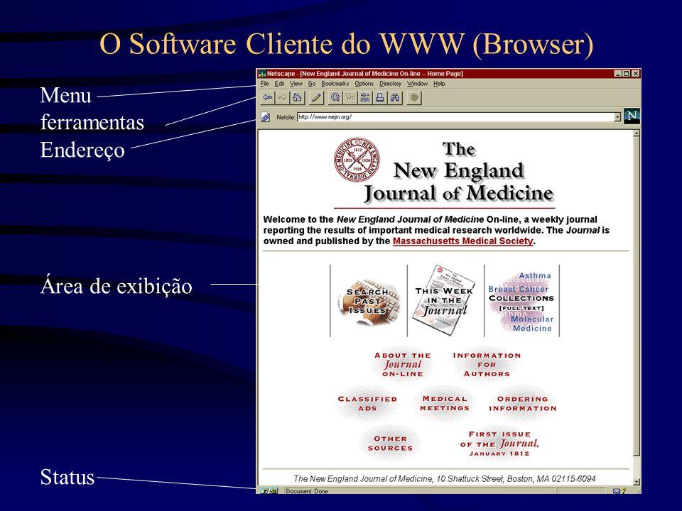 O Software Cliente do WWW (Browser) Menu ferramentas Endereço Área de exibição Status