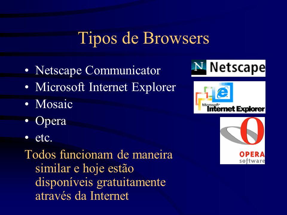 Tipos de Browsers Netscape Communicator Microsoft Internet Explorer Mosaic Opera etc.