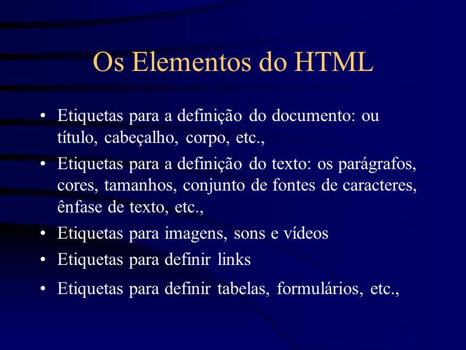 Os Elementos do HTML Etiquetas para a definição do documento: ou título, cabeçalho, corpo, etc., Etiquetas para a definição do texto: os parágrafos, cores, tamanhos, conjunto de fontes de caracteres, ênfase de texto, etc., Etiquetas para imagens, sons e vídeos Etiquetas para definir links Etiquetas para definir tabelas, formulários, etc.,