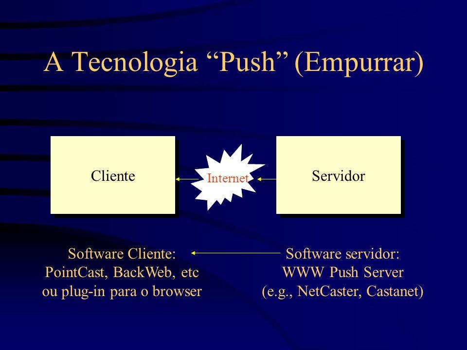 Software Cliente: PointCast, BackWeb, etc ou plug-in para o browser Software servidor: WWW Push Server (e.g., NetCaster, Castanet) Cliente Servidor I Internet A Tecnologia Push (Empurrar)
