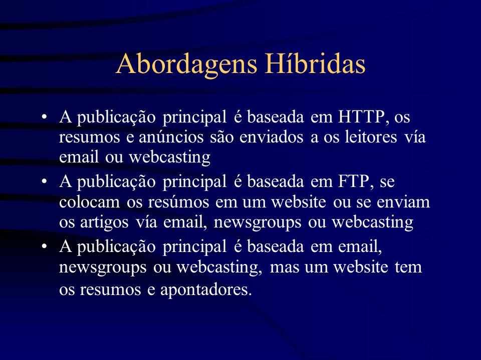 Abordagens Híbridas A publicação principal é baseada em HTTP, os resumos e anúncios são enviados a os leitores vía email ou webcasting A publicação principal é baseada em FTP, se colocam os resúmos em um website ou se enviam os artigos vía email, newsgroups ou webcasting A publicação principal é baseada em email, newsgroups ou webcasting, mas um website tem os resumos e apontadores.