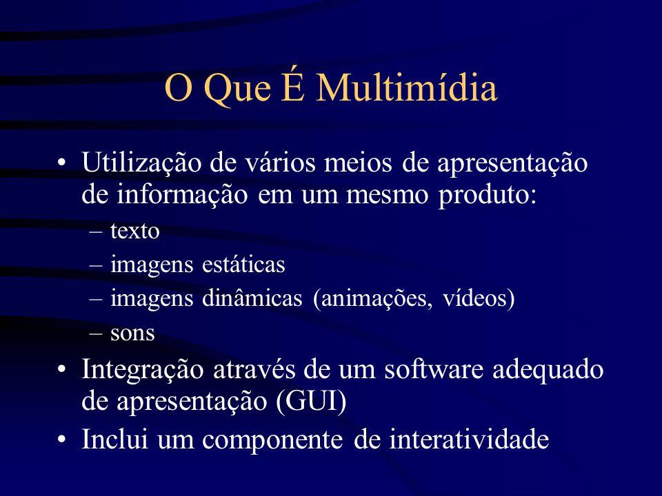 O Que É Multimídia Utilização de vários meios de apresentação de informação em um mesmo produto: –texto –imagens estáticas –imagens dinâmicas (animações, vídeos) –sons Integração através de um software adequado de apresentação (GUI) Inclui um componente de interatividade