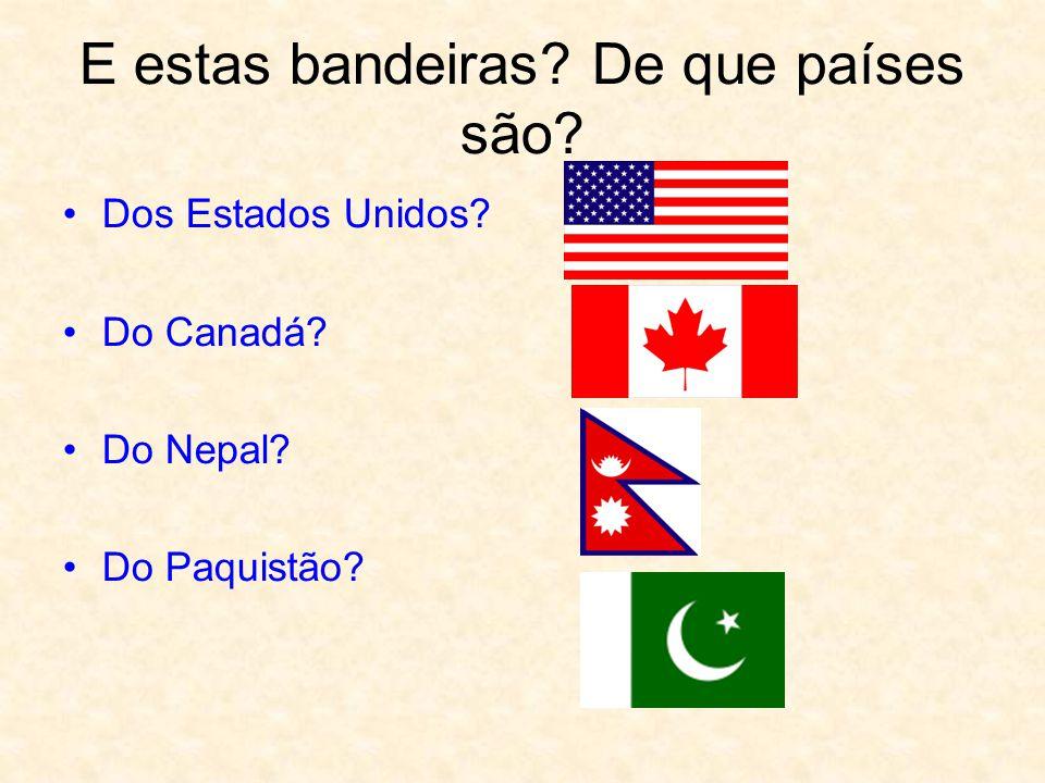 E estas bandeiras? De que países são? Dos Estados Unidos? Do Canadá? Do Nepal? Do Paquistão?