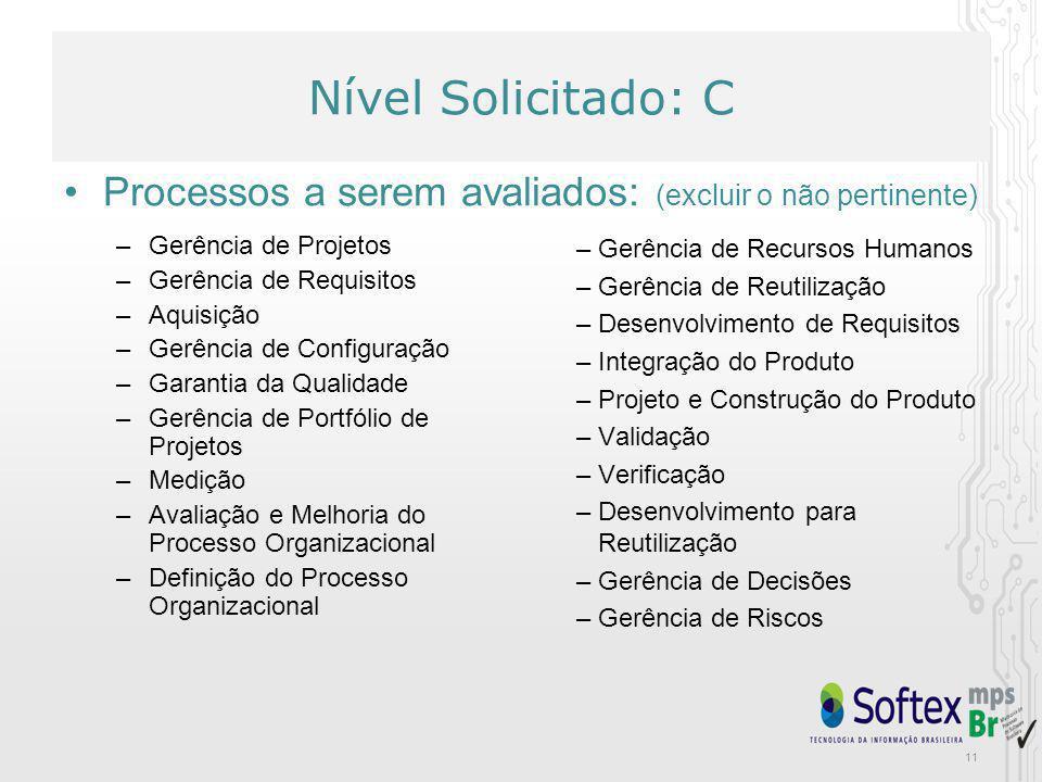 11 Nível Solicitado: C Processos a serem avaliados: (excluir o não pertinente) Nível Solicitado: C –Gerência de Projetos –Gerência de Requisitos –Aqui