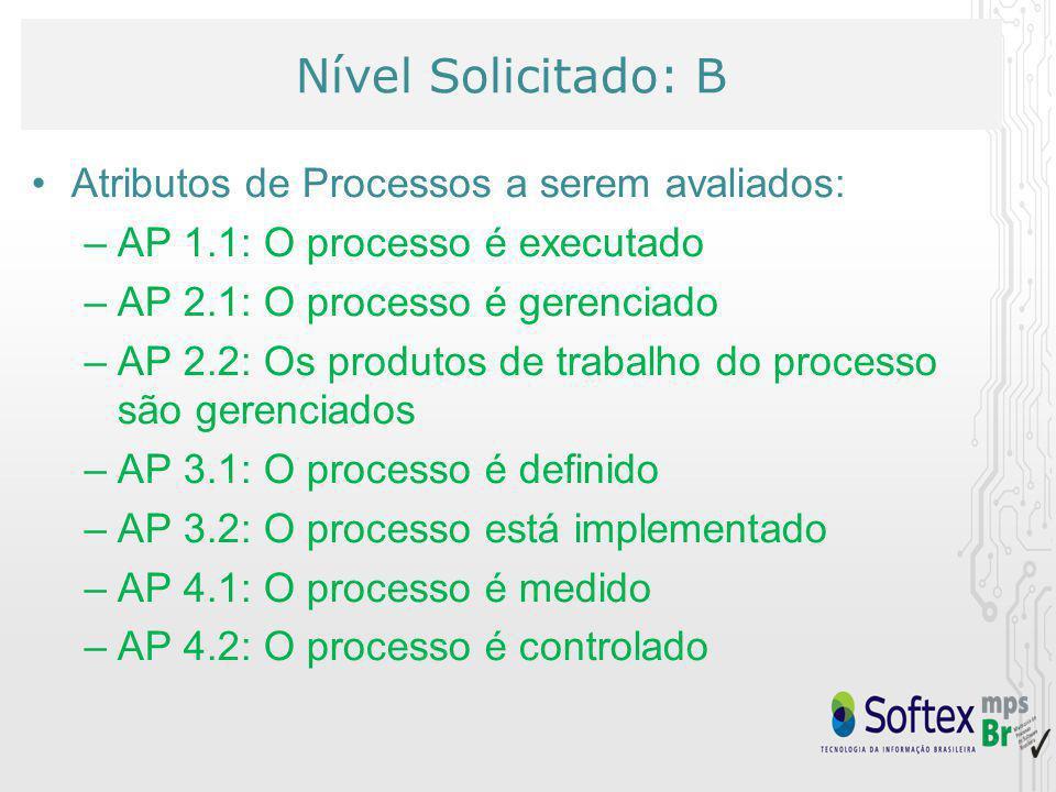Nível Solicitado: B Atributos de Processos a serem avaliados: –AP 1.1: O processo é executado –AP 2.1: O processo é gerenciado –AP 2.2: Os produtos de