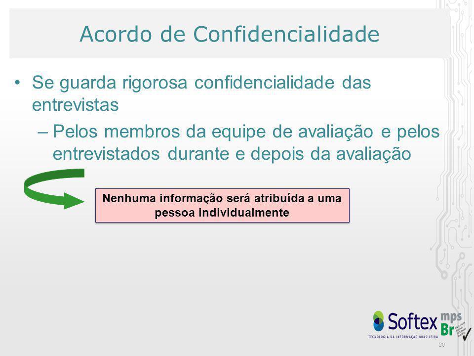 20 Nenhuma informação será atribuída a uma pessoa individualmente Acordo de Confidencialidade Se guarda rigorosa confidencialidade das entrevistas –Pe