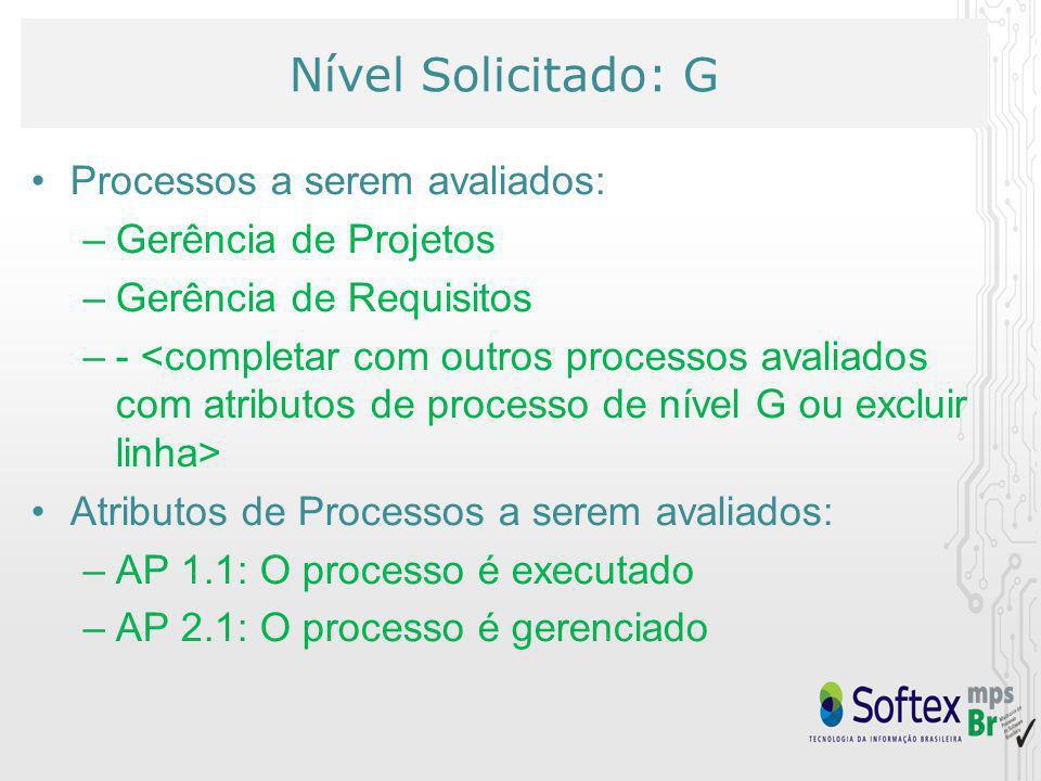 Nível Solicitado: G Processos a serem avaliados: –Gerência de Projetos –Gerência de Requisitos –- Atributos de Processos a serem avaliados: –AP 1.1: O