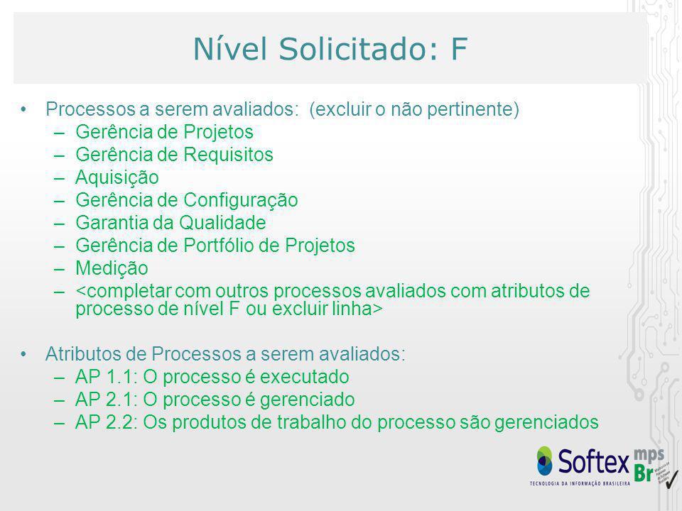 Nível Solicitado: F Processos a serem avaliados: (excluir o não pertinente) –Gerência de Projetos –Gerência de Requisitos –Aquisição –Gerência de Conf