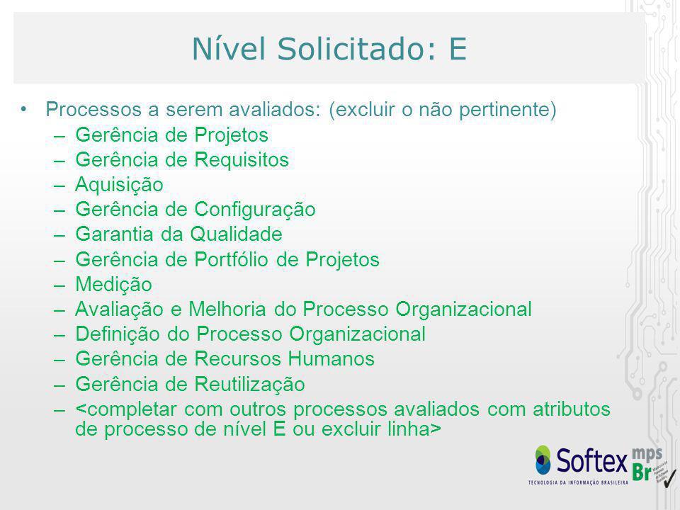 Nível Solicitado: E Processos a serem avaliados: (excluir o não pertinente) –Gerência de Projetos –Gerência de Requisitos –Aquisição –Gerência de Configuração –Garantia da Qualidade –Gerência de Portfólio de Projetos –Medição –Avaliação e Melhoria do Processo Organizacional –Definição do Processo Organizacional –Gerência de Recursos Humanos –Gerência de Reutilização –