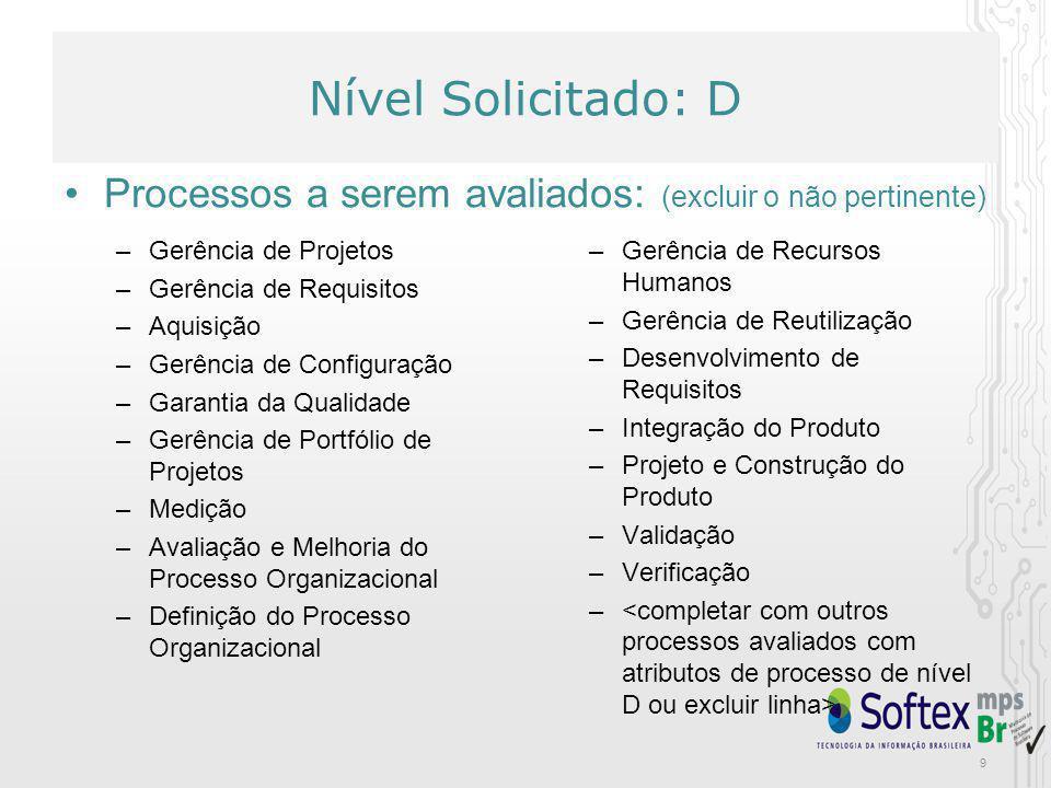 Nível Solicitado: D Atributos de Processos a serem avaliados: –AP 1.1: O processo é executado –AP 2.1: O processo é gerenciado –AP 2.2: Os produtos de trabalho do processo são gerenciados –AP 3.1: O processo é definido –AP 3.2: O processo está implementado