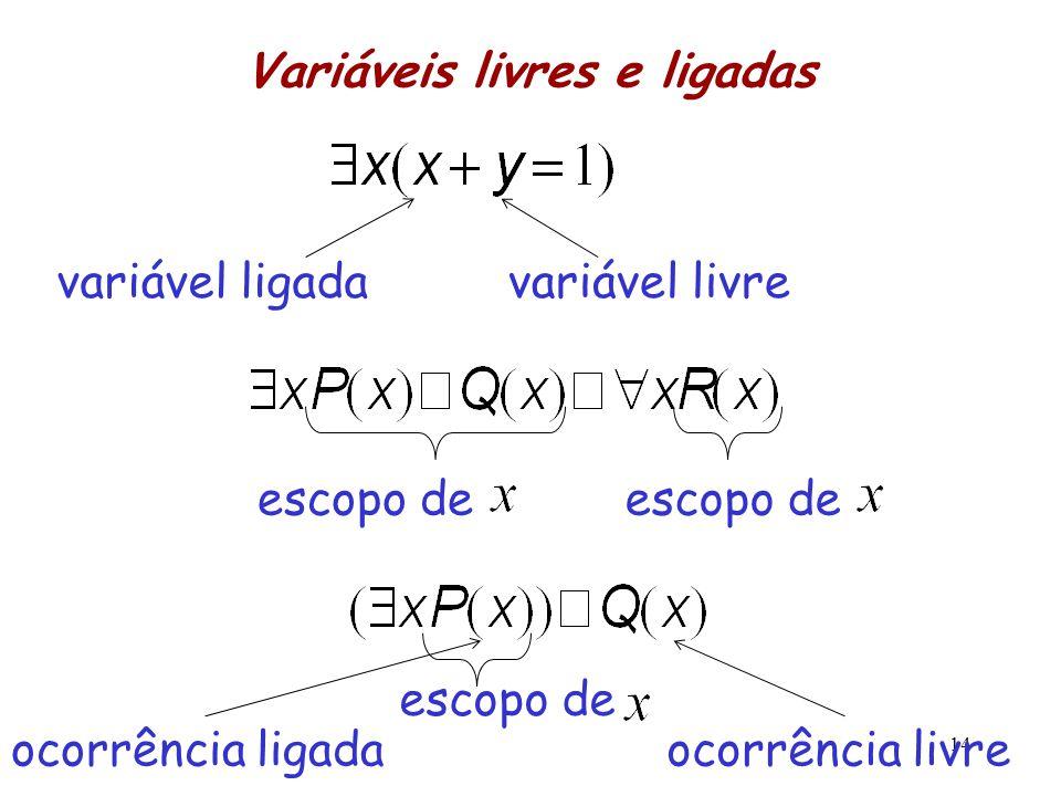 Variáveis livres e ligadas 14 variável ligadavariável livre escopo de ocorrência ligadaocorrência livre