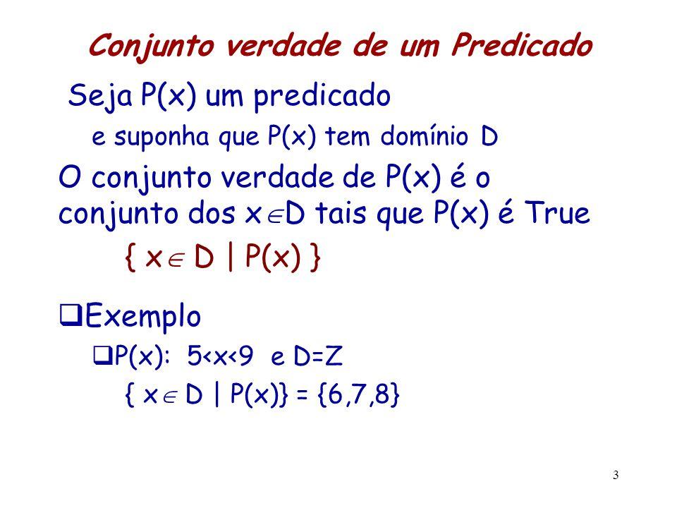 4  — Quantificador Universal, (para todo)   x p(x)  É uma fórmula se p(x) é uma fórmula  True se p(x) é True para cada valor de x no Domínio  False se existe algum valor de x no Domínio tal que p(x) é False  Exemplo – P(x): x é primo  D = {2,5,11} -  x P(x) é True  x P(x) significa P(2)  P(5)  P(11)  D = {3,6,9} -  x P(x) é False Contra-exemplos: P(6) e P(9)  D = N = {0, 1, 2, … } -  x P(x) é False  x P(x) significa P(0)  P(1)  P(2)  …  provê uma maneira de escrever fórmulas que teriam um número infinito de símbolos na Lógica Proposicional
