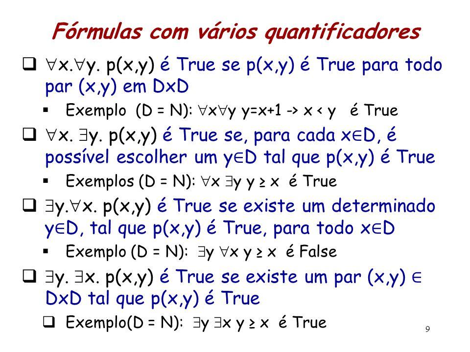 Fórmulas com vários quantificadores   x.  y. p(x,y) é True se p(x,y) é True para todo par (x,y) em DxD  Exemplo (D = N):  x  y y=x+1 -> x < y é