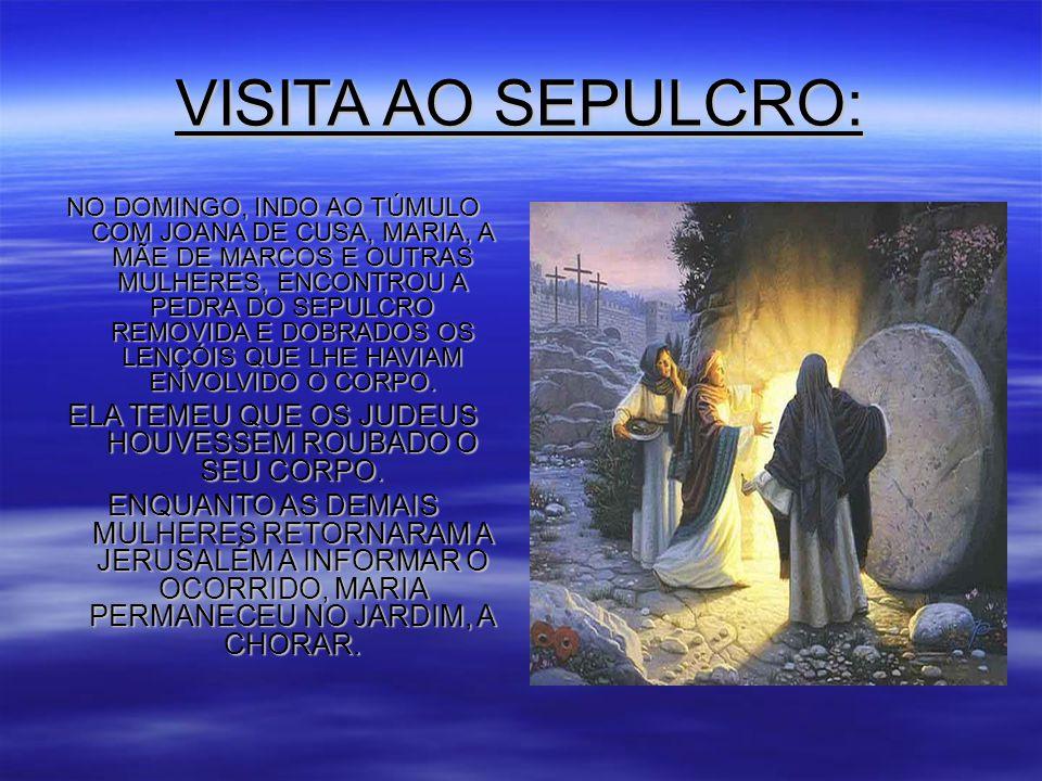 VISITA AO SEPULCRO: NO DOMINGO, INDO AO TÚMULO COM JOANA DE CUSA, MARIA, A MÃE DE MARCOS E OUTRAS MULHERES, ENCONTROU A PEDRA DO SEPULCRO REMOVIDA E DOBRADOS OS LENÇÓIS QUE LHE HAVIAM ENVOLVIDO O CORPO.