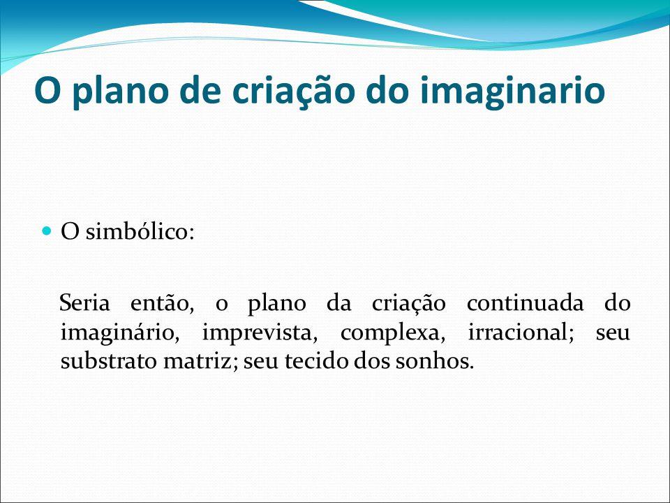 O plano de criação do imaginario O simbólico: Seria então, o plano da criação continuada do imaginário, imprevista, complexa, irracional; seu substrato matriz; seu tecido dos sonhos.