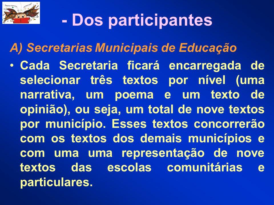 - Dos participantes A) Secretarias Municipais de Educação Cada Secretaria ficará encarregada de selecionar três textos por nível (uma narrativa, um po