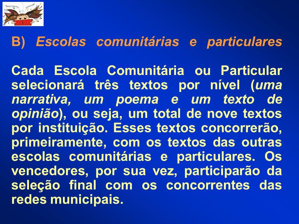 B) Escolas comunitárias e particulares Cada Escola Comunitária ou Particular selecionará três textos por nível (uma narrativa, um poema e um texto de