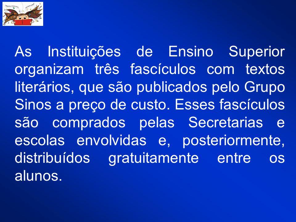 As Instituições de Ensino Superior organizam três fascículos com textos literários, que são publicados pelo Grupo Sinos a preço de custo. Esses fascíc