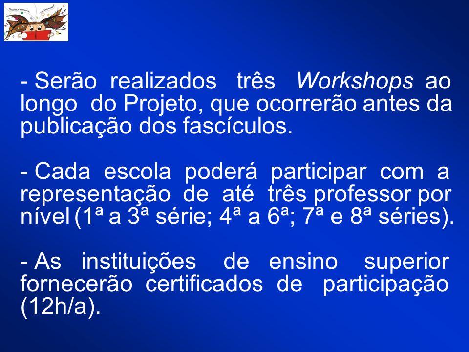 - Serão realizados três Workshops ao longo do Projeto, que ocorrerão antes da publicação dos fascículos. - Cada escola poderá participar com a represe